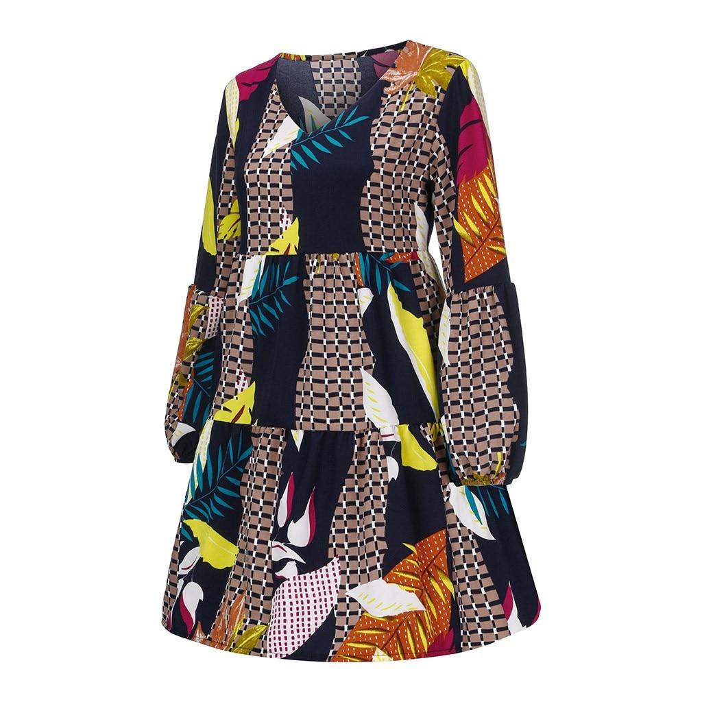 Women Summer Tunic Dress V Neck Casual Loose Flowy Swing Shift Dresses 5