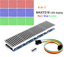 Módulo de matriz de puntos MAX7219, 8x8, cátodo común, 5V, pantalla LED 4 en 1 roja, azul y verde, con línea DuPont