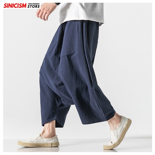 Sinicism Store Men Solid Summer Cross Pants Mens 2020 Japanese Wide Leg Trousers Male Linen Chinese Style Pants Clothing 5XL 15