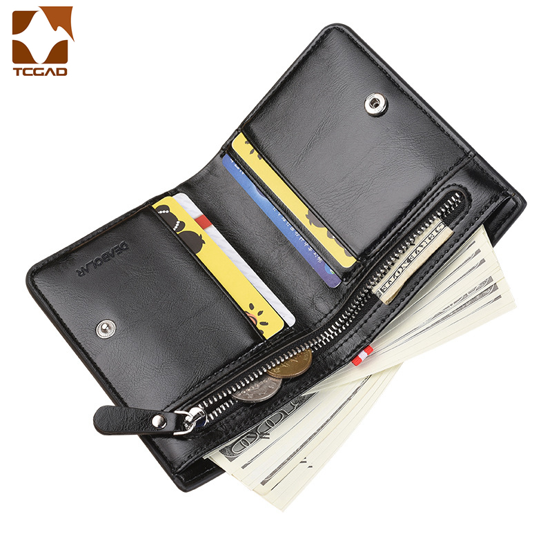 Men's Wallet Carteira Masculina 100% Wax Oil Skin Leather Short Wallet Male Pocket Clutch Wallet Mens Money Bag Billetera Hombre