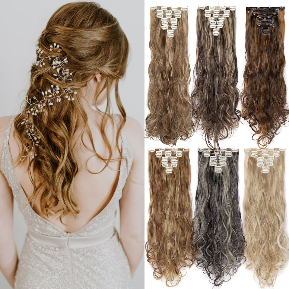S-noilite 24 Inch 18 Clips Long Curly Clip In Hair 8Pcs/set High Temperature Fiber Hairpieces Synthetic Clip Extension Hair