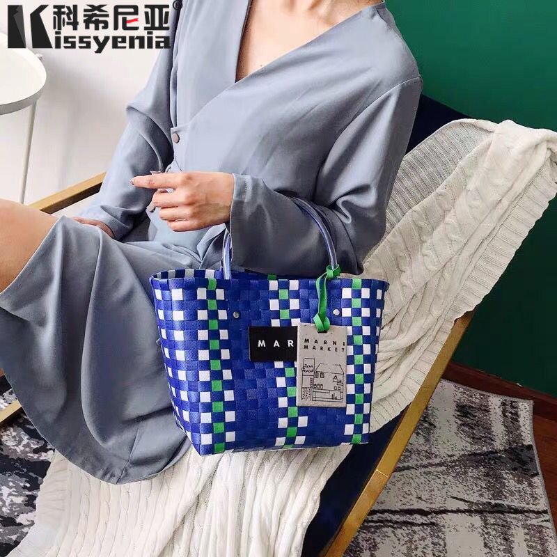 Kissyenia 2019 INS Woven bag Charity Basket Beach Bag Women Orginal Mar ni Brand Logo Bags Handbags Plaid Knitted Dog Bag KS1328