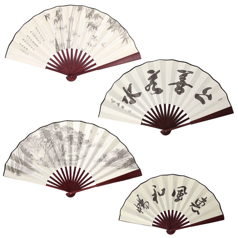 Chinese Style Hand Held Folding Silk Fan For Wedding Event And Party Supplies Home Decoration Gift For Men