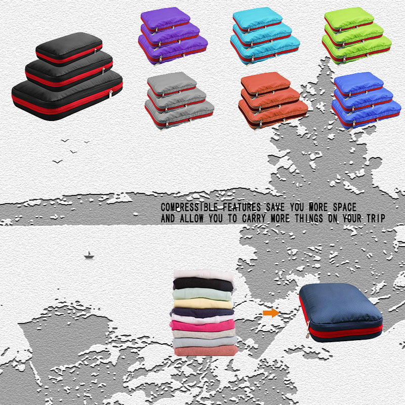 Compression Packing Cubes Travel Luggage Organizer Waterproof Three Zipper Compression Packing Cubes Men Women Nylon Travel Bag