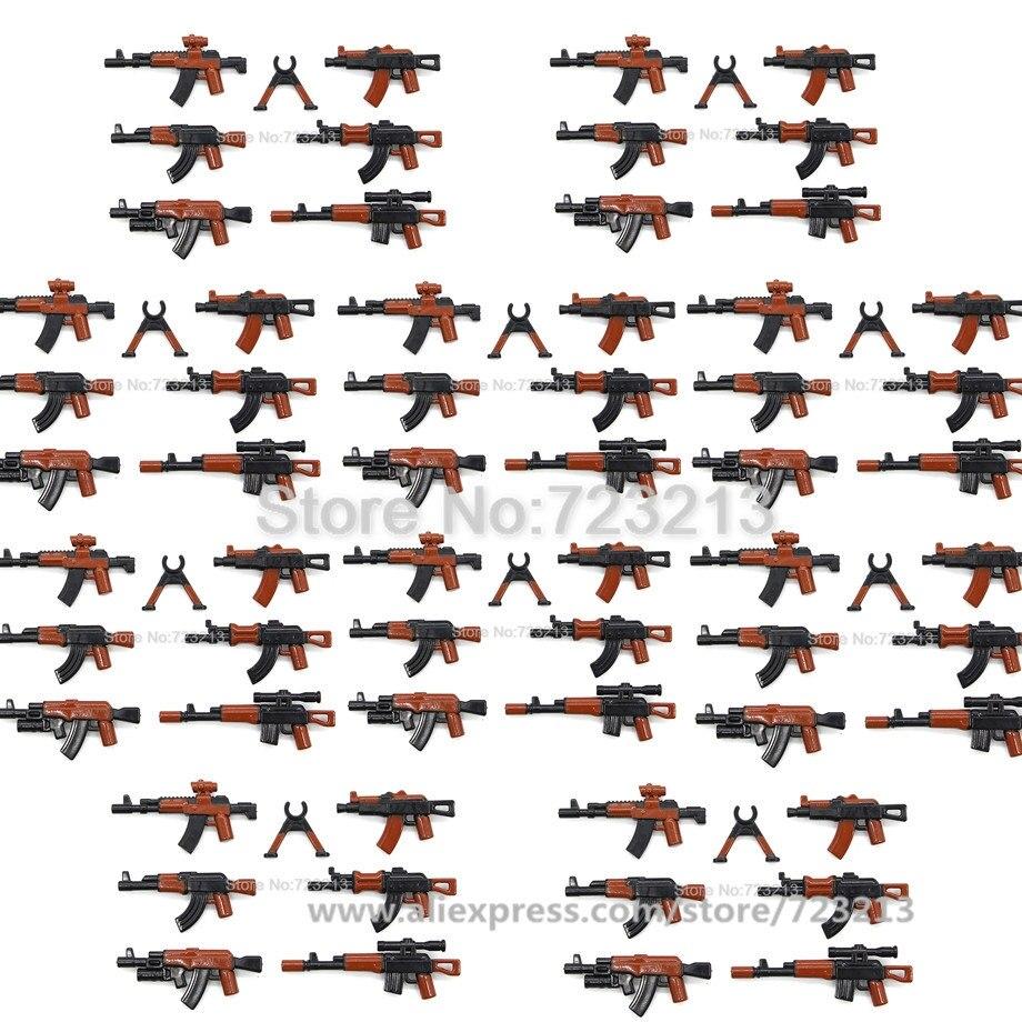 En gros 10 sac arme fusil ensemble militaire AK-47 M16 G36 pièces accessoires SWAT modèle PUBG blocs de construction briques Kits jouets (lot de 10)