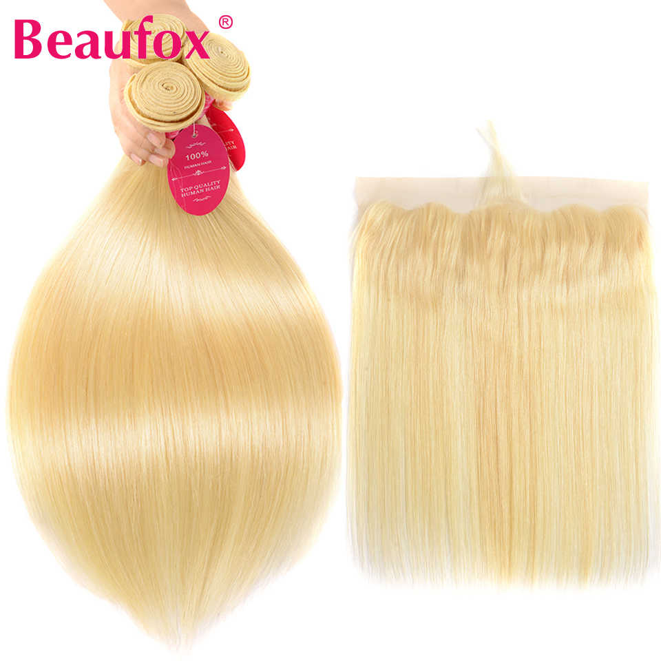 Beaufox 613 Bundles With Frontal Blonde Human Hair Bundles With Closure Peruvian Straight Lace Frontal Closure With Bundles Remy