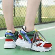 Buty damskie Harajuku Chunky Sneakers Designer swobodna koronka Up Tenis damskie buty sportowe płaskie damskie trener trampki marki jesień tanie tanio BONJEAN Mesh (air mesh) Wiosna jesień Dla dorosłych Med (3 cm-5 cm) Pasuje prawda na wymiar weź swój normalny rozmiar