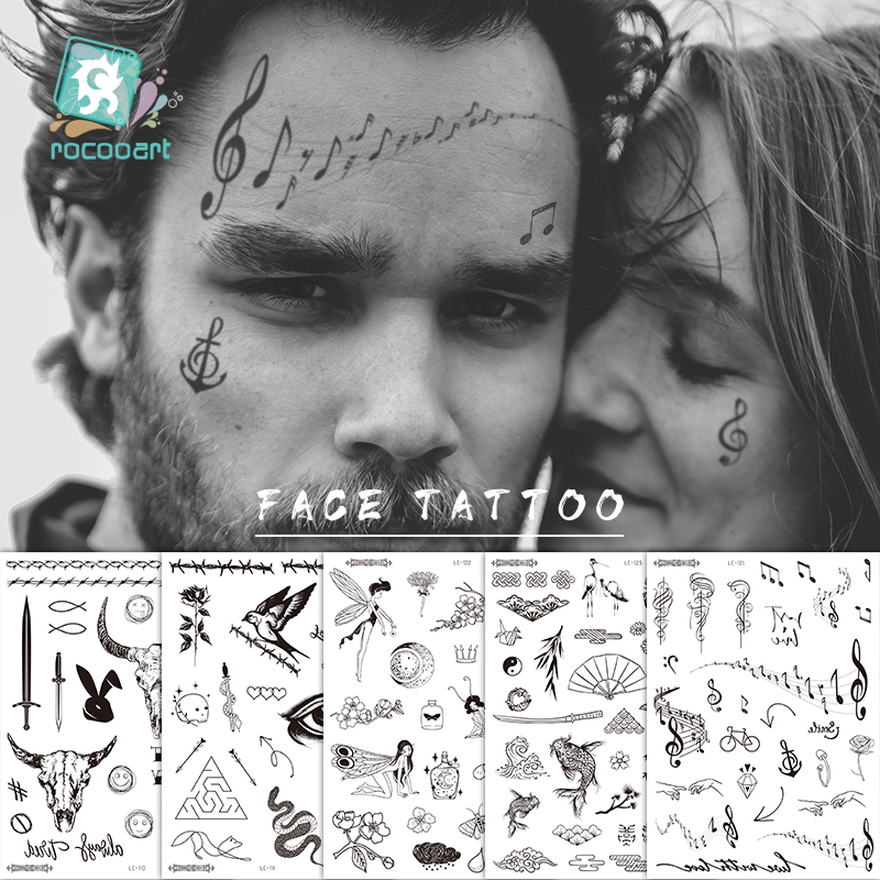 Hot Sale Malone Tattoo Bull Head Face Sticker Neck Hand Back Cool Design Body Art Temporary Tattoo Sticker Sword Letter Tatoo