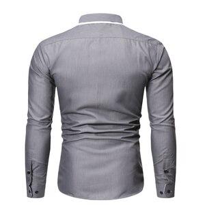 Image 4 - Новинка, мужская повседневная рубашка, высокое качество, сочетающиеся цвета, лацканы, длинный рукав, белая, светская, рубашка, тонкая, Мужская Уличная одежда, рубашка