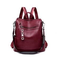 Fashion Bagpack 3 in 1 Women Leather Backpack school bags for teenage girls Shoulder bags for women 2019 Black Mochila Feminina