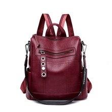 Mochila De moda 3 en 1 para mujer, Mochila de cuero, mochilas escolares para adolescentes, bandoleras para mujeres, Mochila femenina negra 2019