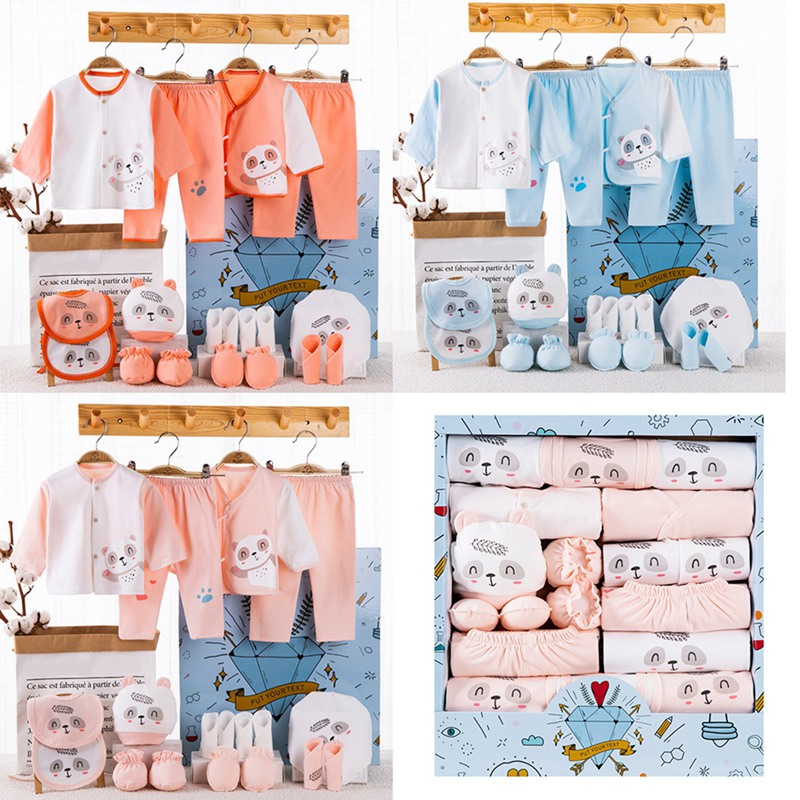 18 Piece/lot Newborn Baby Girl Clothes 100% Cotton Infant Baby Girl Summer Clothes Soft Baby Boys Clothing Newborn Hat Bibs Sets