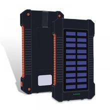 Portable Waterproof Solar 30000mah Power bank Dual-USB Solar Battery Powerbank External Battery LED For Xiaomi iPhone Samsung S9