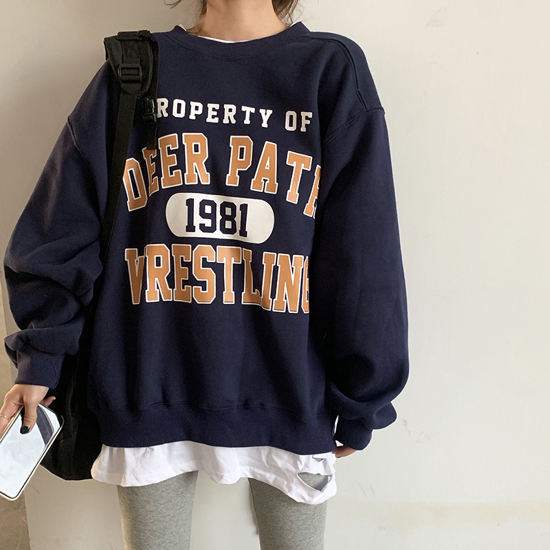 Casual Loose Vintage Letter Sweatshirt Female Korean Kawaii Women's Sweatshirts Japanese Harajuku Ulzzang Clothing For Women