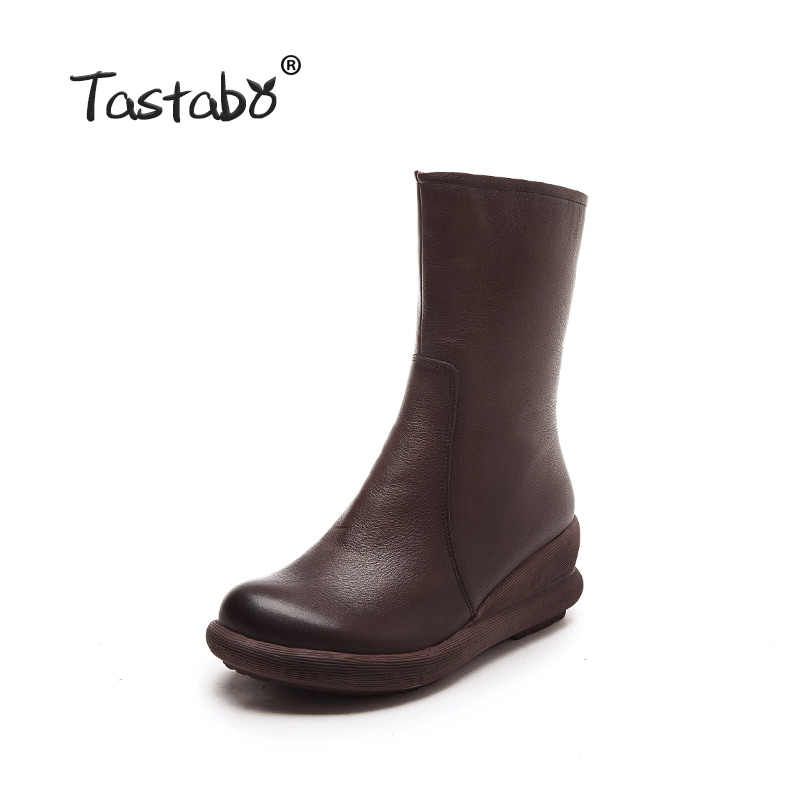 Tastabo 2019 herbst und winter frauen nackt stiefel vintage Mid stiefel Wilden casual stil S99910 Braun Schwarz Alltäglichen frauen der schuhe