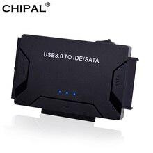 """CHIPAL 3 في 1 SATA إلى USB IDE محول USB 3.0 إلى SATA IDE ATA البيانات محول ل جهاز كمبيوتر شخصي 2.5 """"3.5"""" SSD HDD + كابل الطاقة"""