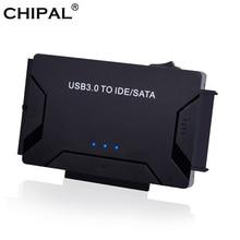"""CHIPAL adaptador SATA a USB IDE 3 en 1, convertidor de datos IDE a SATA IDE ATA para ordenador de PC, 3,0 """", 2,5"""", SSD HDD + Cable de alimentación"""