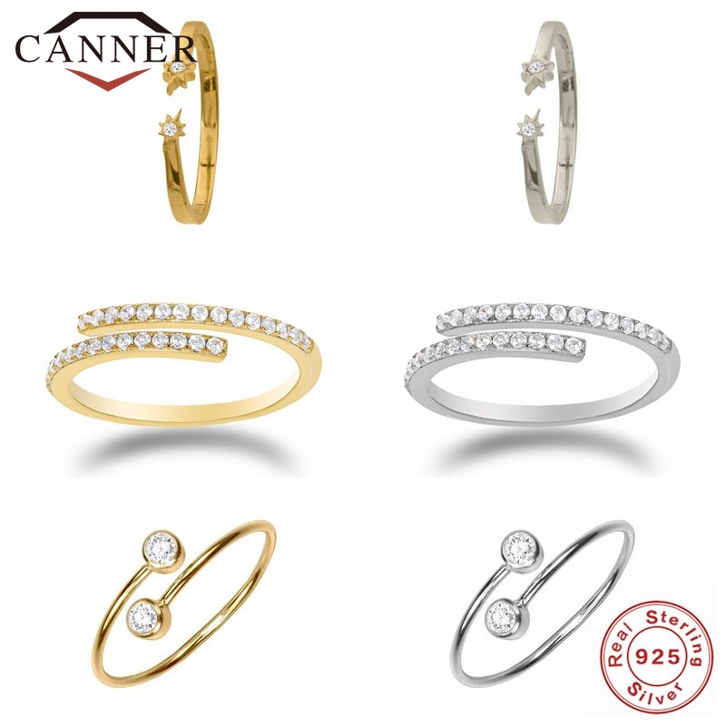 CANNER Real 925 Sterling Silver Rings for Women INS Style Cute Zircon Round Opening Ring Wedding Fine Jewelry Minimalist Gift 1