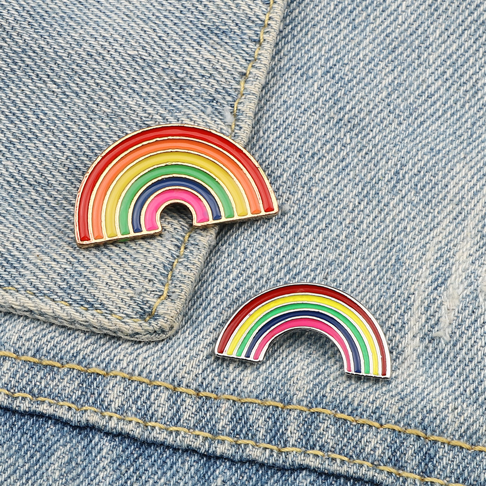 2 Styles Rainbow Brooch Cartoon Women  Colorful Enamel Pin Brooches Jackets Collar Lapel Metal Badges Pins for Kids Jewelry Gift