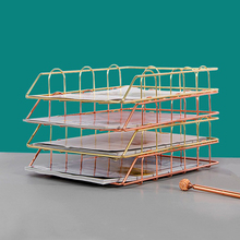 Desk-Accessorie Magazine-Holder Paper-Tray File Office-Organizer Metal Gold Layering