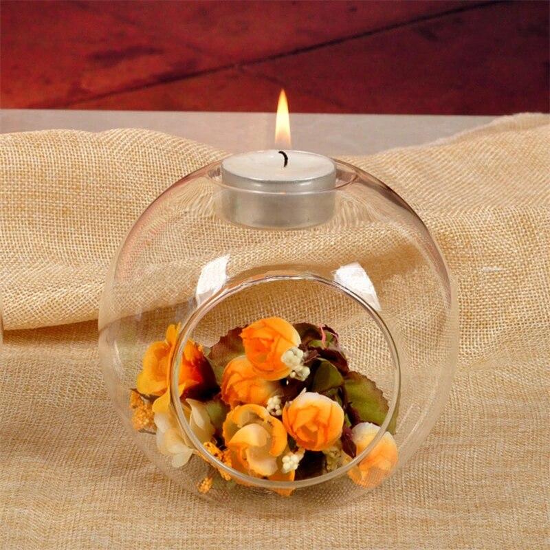 6cm Glass Tea Light Candle Holder Candlestick Landscape Bottle /_Round White