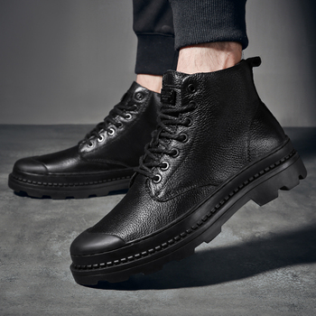 High Top Genuine Leather Shoes Men Sneakers Outdoor Thick Sole Mens Casual Shoes Male High Quality Cowhide men shoes 2019 New фото
