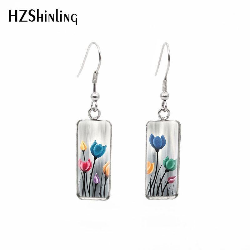 2019 New Whimsical Floral Flowers Rectangular Earring Colorful Uplifting Tulip Painting Fish Hook Earrings Glass Jewelry