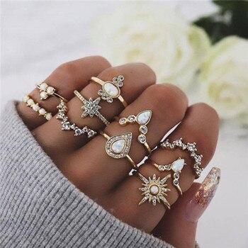 15 Pcs/set Women Fashion Rings Hearts Fatima Hands Virgin Mary Cross Leaf Hollow Geometric Crystal Ring Set Wedding Jewelry 39