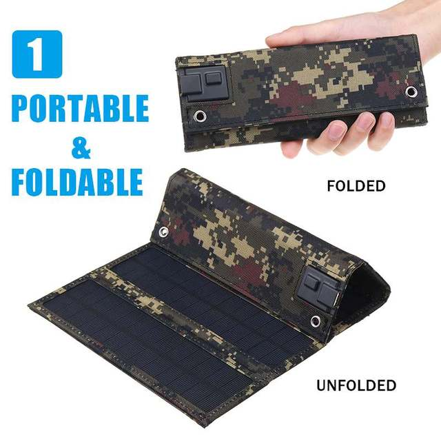 30W Foldable Solar Panel 5V Sun power Solar Cells Bank Pack USB 10in1 USB Cable Waterproof for Phone Backpack Camping Hiking 4