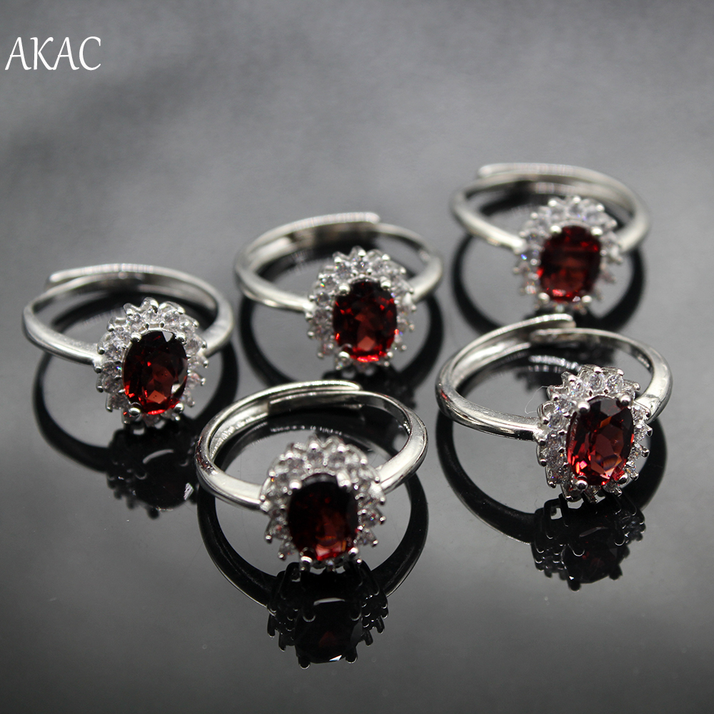 3pcs/set  Approx6-7*8mm Wholesale  AKAC Natural Red Garnet Adjustable Ring For Women Ring