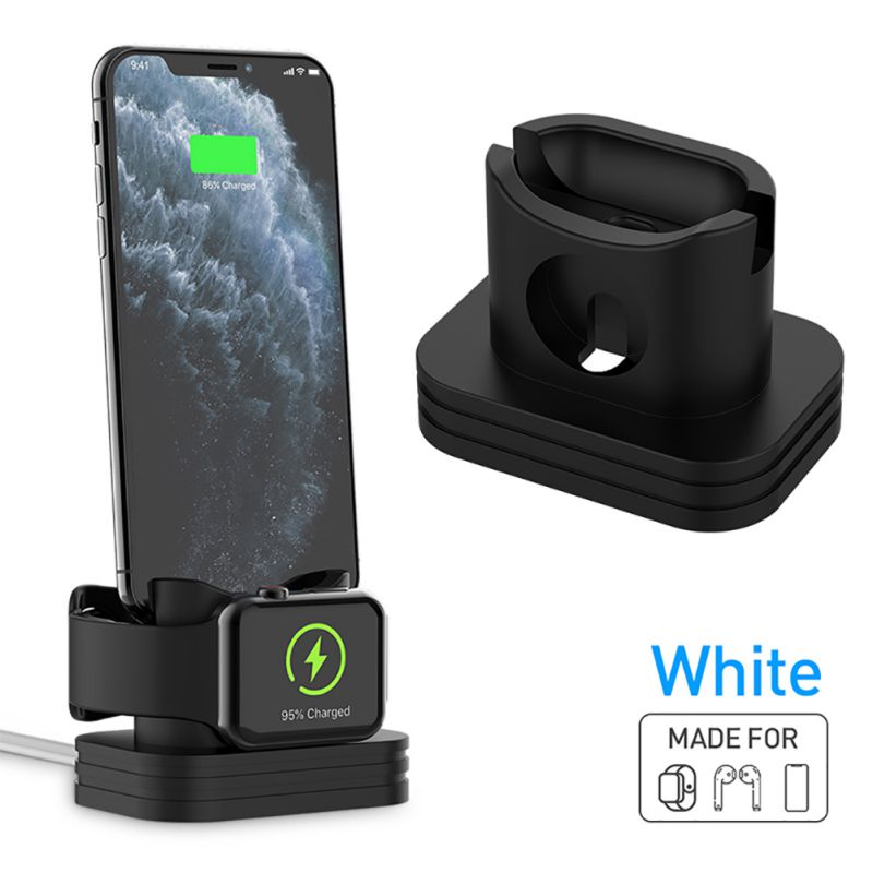 3 In 1 Charging Dock Station Soft Silicone Mini Stand Desk Charge Base Holder For AirPods Case Apple Watch For IPhone 11 Pro Max