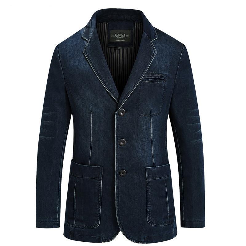 Hommes mode coton Vintage costume veste 4XL mâle bleu manteau Denim veste hommes slim gros Jeans Blazers nouveau hommes Denim Blazer