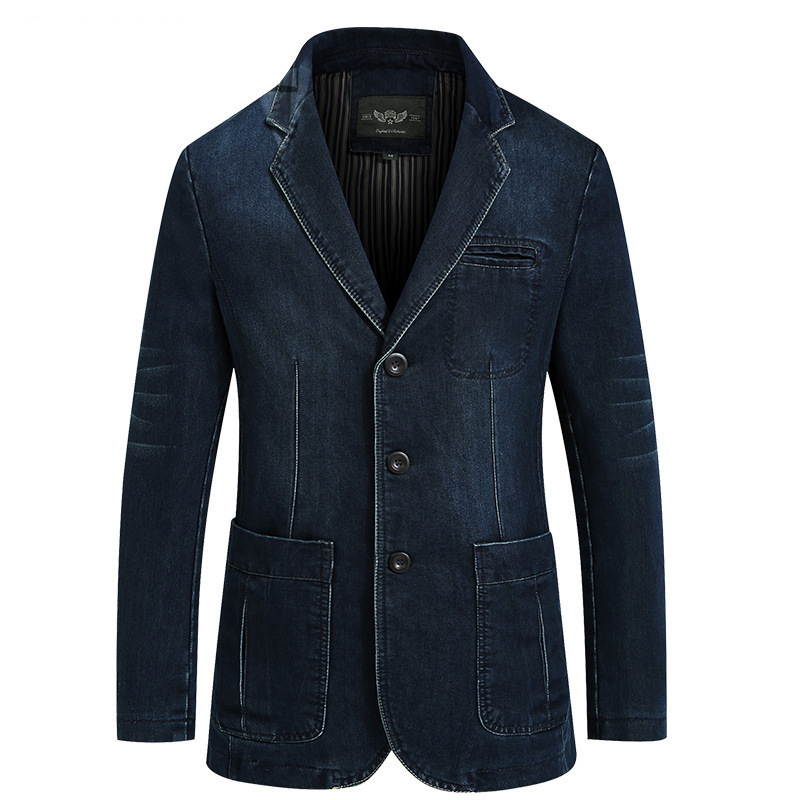 Men Fashion Cotton Vintage Suit Jacket 4XL Male Blue Coat Denim Jacket Men Slim Fat Jeans Blazers  New Mens Denim Blazer