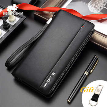 BISON DENIM Genuine Leather Long Wallet Men's Clutch Bag Cowskin Leather Wallets For Male Coin Purse Business Wallets N8008 - DISCOUNT ITEM  53% OFF All Category