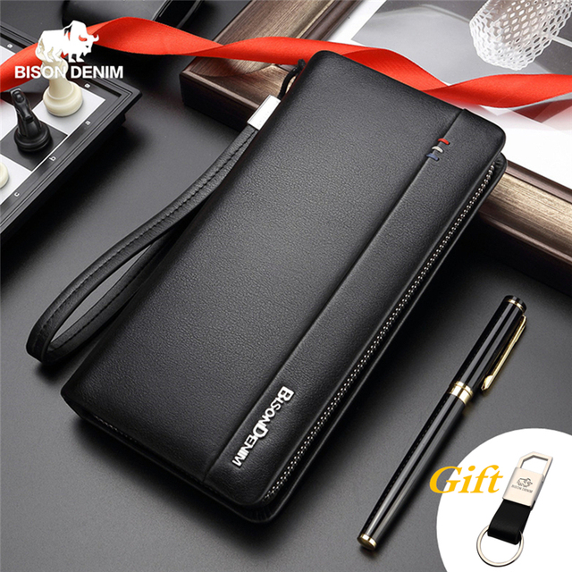$ US $22.90 BISON DENIM Genuine Leather Long Wallet Men's Clutch Bag Cowskin Leather Wallets For Male Coin Purse Business Wallets N8008