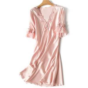 Image 2 - V neck Sleepdress Korean Version Ice Silk Short Sleeve Lace Skirt Home Nighty Sexy Sleepwear Women Silk Lingerie Sleeping Dress