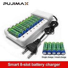 PUJIMAX 범용 배터리 충전기 8 슬롯 배터리 충전기 AA / AAA Ni MH / Ni Cd 배터리 충전식 배터리 EU 플러그