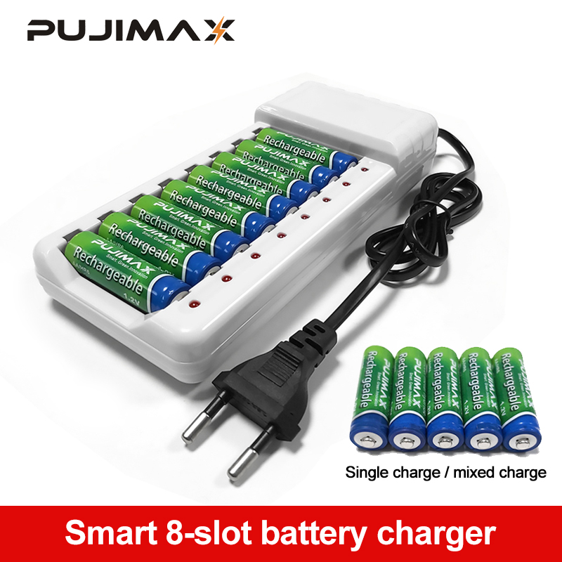 PUJIMAX Universal Battery Charger 8 Slots Batteries Charger AA / AAA Ni-MH / Ni-Cd Batteries Rechargeable Battery EU Plug