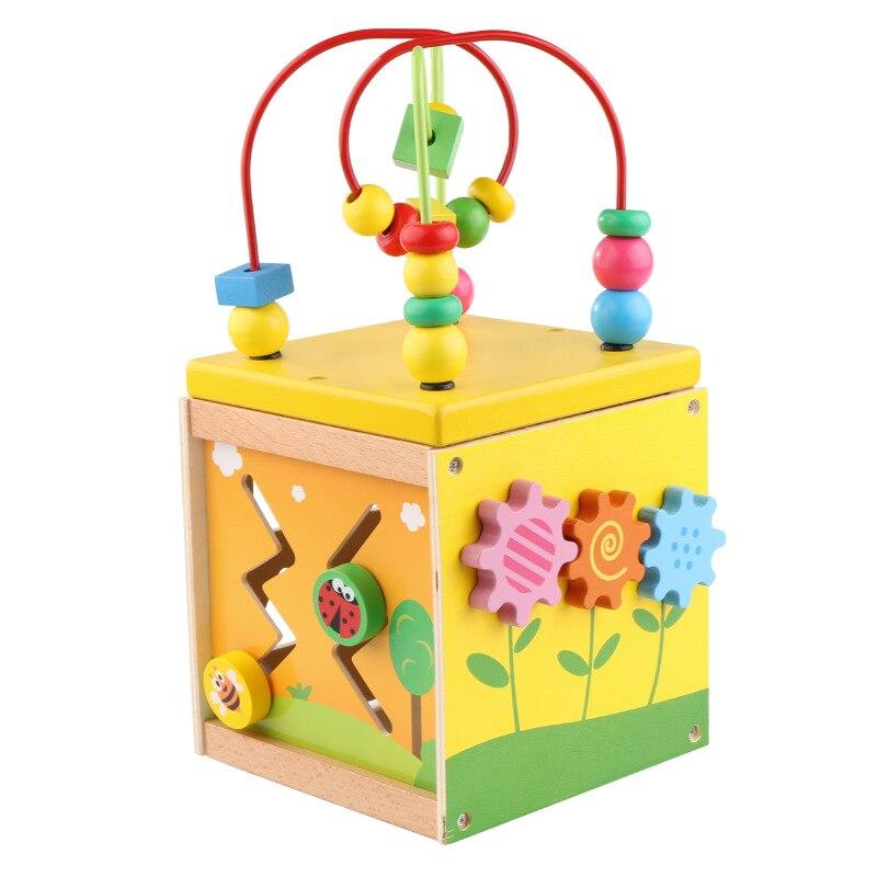 Multi-functional Four Sides Bead-stringing Toy Treasure Chest Baby Beaded Bracelet Infants Children Wooden Educational Toys