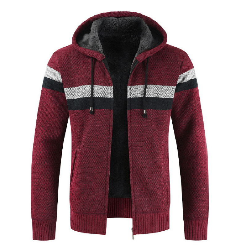 Men's Fashion Autumn And Winter Thick Warm Sweater Coats 2019 New Males Striped Zipper Hooded Cardigans Casual Slim Fit Coats