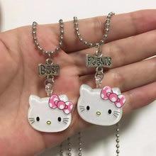 Jóias coreano dos desenhos animados holle kitty colares bom amigo pingente gato menina crianças colar melhor amigo presentes
