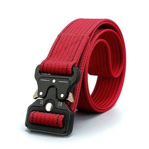 Cinturón de nailon táctico militar con hebilla de Metal para uso en exteriores, resistente, accesorios de entrenamiento de caza, correa para la cintura en rojo, azul o naranja