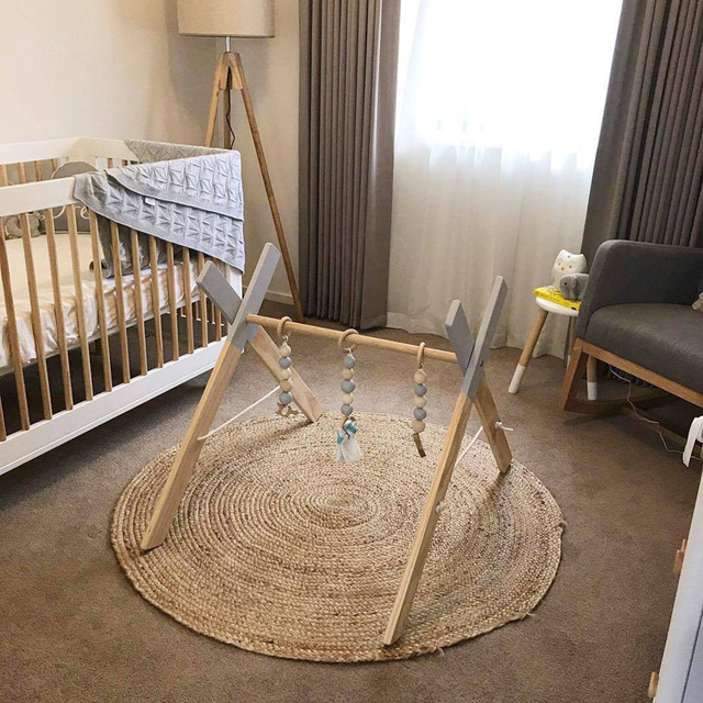 Baby Gym Wood Nordic Activity Toys Rack Play Ring-pull for Children Frame Kids Room Decor Educational Toys Photography
