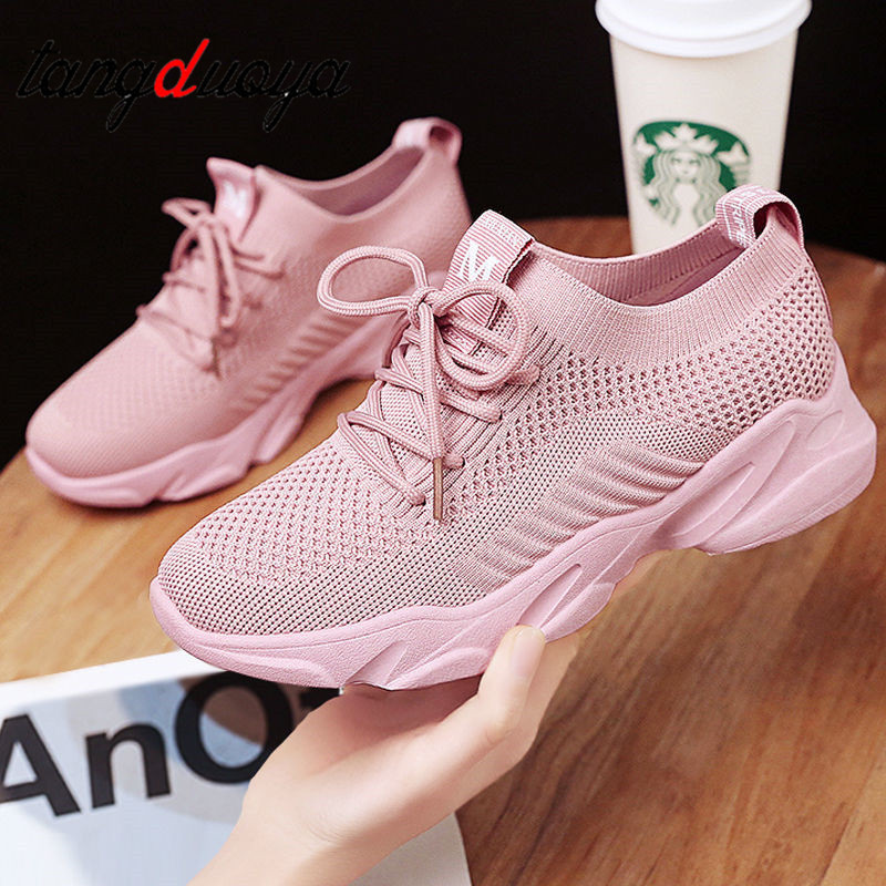 2020 Lady Women Feminine Slim Breathable Mesh Air Casual Fashion Feminine Shoelace Zapatillas Socks Shoes Sneakers Women White