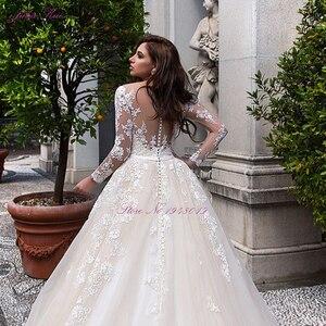 Image 4 - Julia Kui de boda de lujo de color champán, vestido de novia de línea A con escote redondo de capilla, vestido de novia de manga larga
