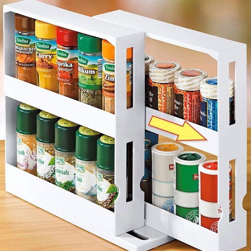 Spice Organizer Kitchen Rack Multi-Function Rotating Storage Rack Slide Kitchen Cabinet Cupboard Organizer Kitchen Storage Shelf