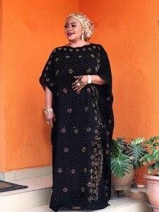 Image 4 - طول الفستان: 135 سنتيمتر الصدر: 160 فساتين الموضة الجديدة بازين طباعة Dashiki المرأة طويلة/نمت Yomadou اللون نمط المتضخم