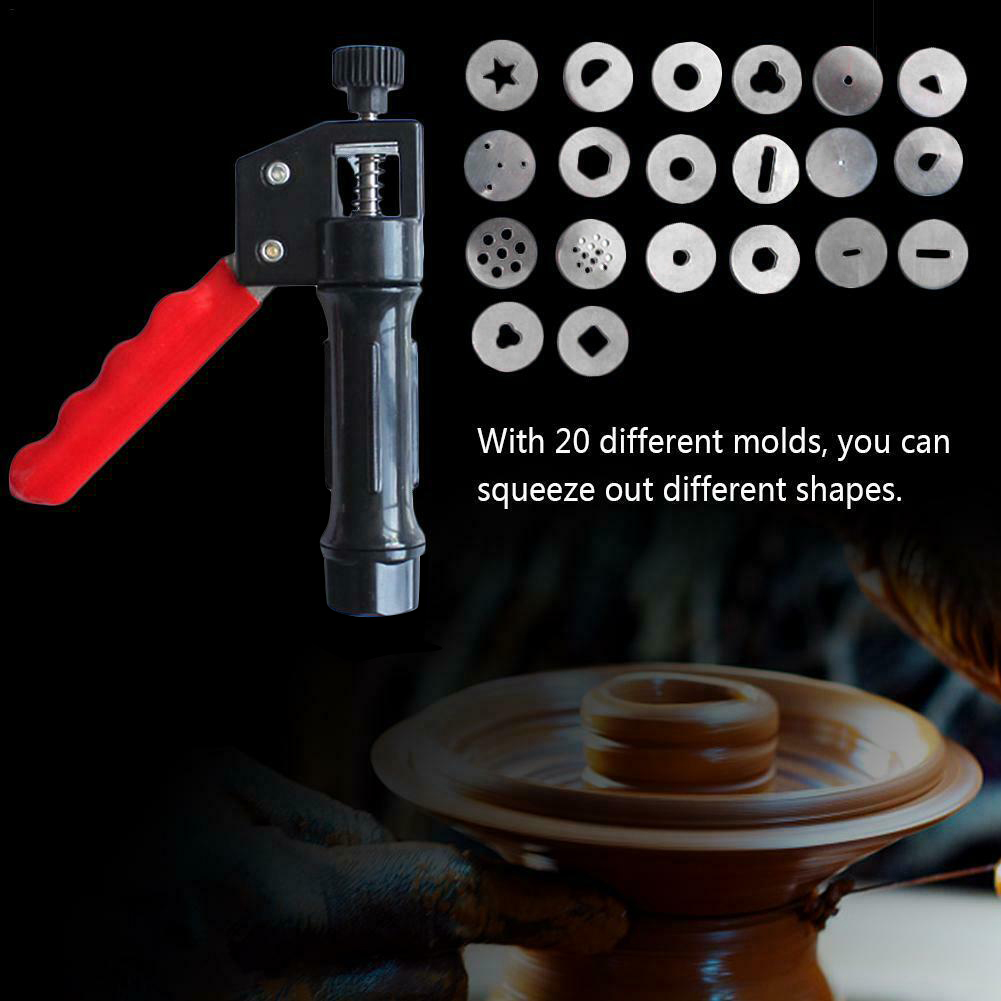 Hot Sale Clay Extruder Hand-held Soft Clay Mud Squeezer With 20 Different Nozzles Biscuit Cake Decorating TY