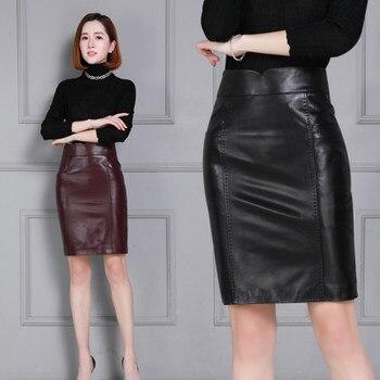 2020 Women New Real Genuine Sheep Leather Skirt K46 2020 new fashion real genuine sheep leather skirt g16