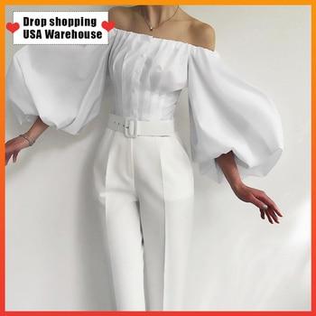OUSHANG Women Sexy Party Off Shoulder Top Ladies White Black Shirt Cotton Bodycon Blouse Lantern Sleeve Elegant Khaki